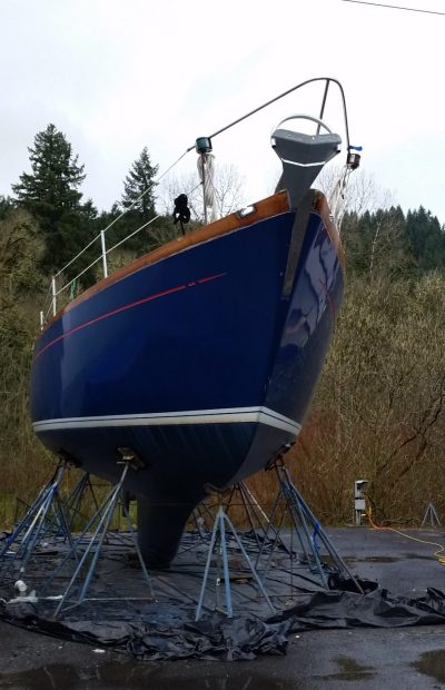 Fuji 40 sailboat on the hard for a major refit in preparation for sailing