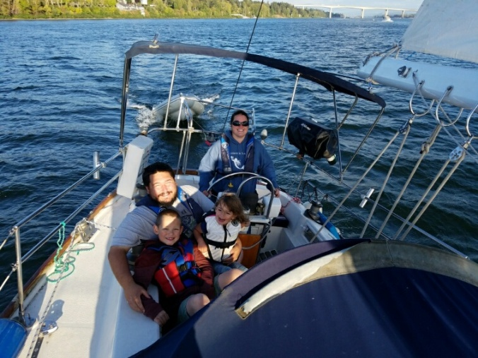 Thanks to our buddy, Brian, for getting this excellent family photo of us sailing with Mosaic