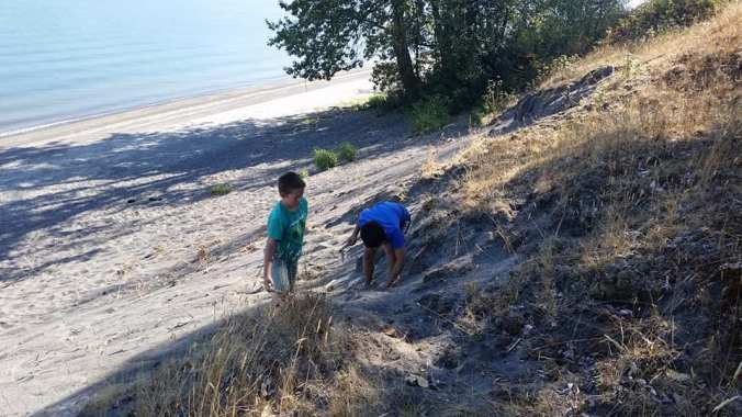 Two boys playing in the sand on a large sand dune on the Columbia River
