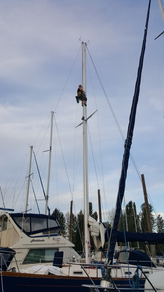Woman 40-feet up the mast of a blue sailboat