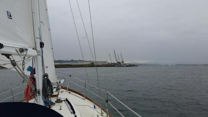 Sailing in the rain aboard SV Mosaic on the Columbia River in October