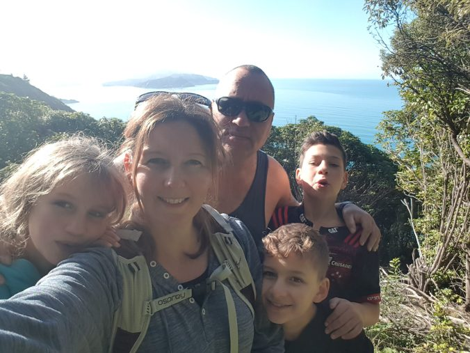 Family of five traveling around New Zealand in a caravan