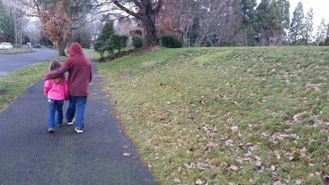 Evan and Kali enjoy each others' company on one of our afternoon walks.