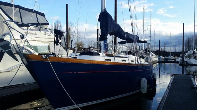 Our sailboat, Mosaic, sitting pretty in our home slip in Portland Oregon
