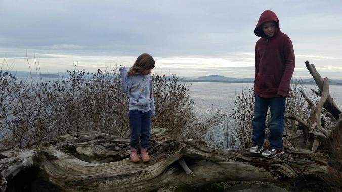 Evan and Kali exploring along the Columbia River where we live.