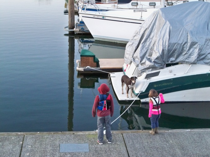 We've made so many close friends here at our marina in Portland. Here, the kids greet our buddy Sagan, boat dog extraordinaire.
