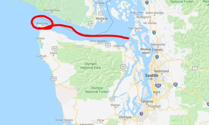 Map of our route and passage north from Portland to the Puget Sound. Leg 3- Neah Bay to Destination Unknown.