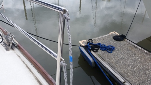 two stretches of dyneema line spliced and cow hitched to the aft section of our lifeline gate opening