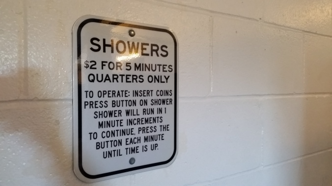 Coin-operated showers at the St. Helens Public Dock