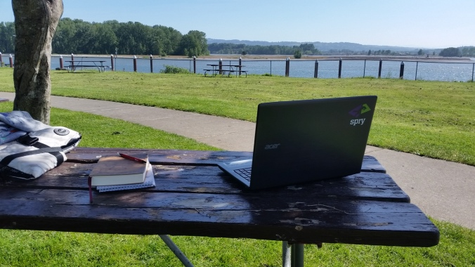 My digital nomad office from the St. Helens Public Dock and nearby park