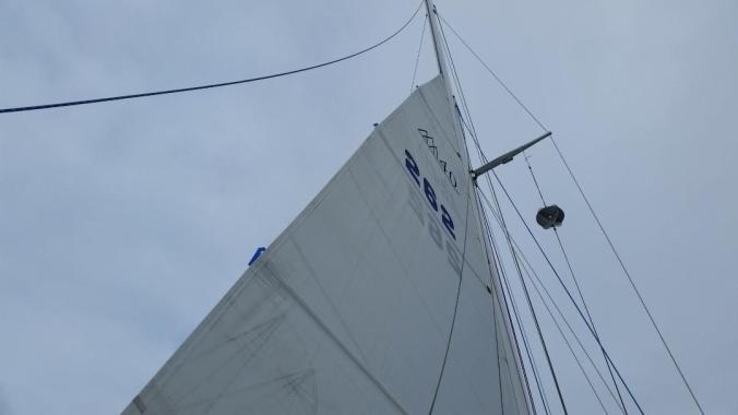 Double reefed mainsail on a Fuji 40 sailboat