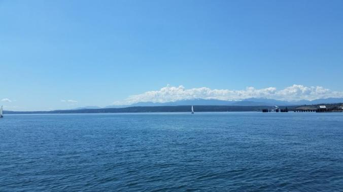 Olympic Mountains in the Puget Sound as seen from Port Townsend