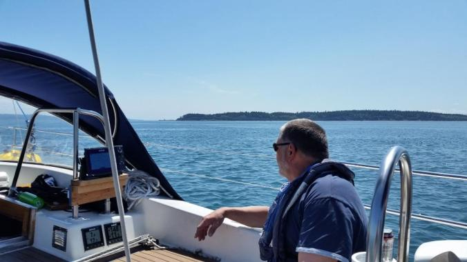 Leaving Port Townsend by sailboat, heading to Seattle