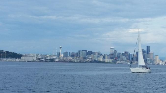 Seattle from the water in Elliot Bay