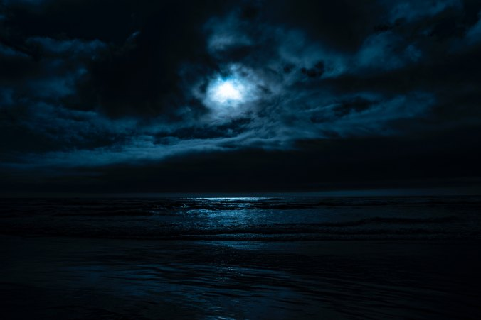 Full moon lighting the ocean