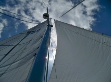 Sails up on SV Mosaic as we sail with our friends through the Tacoma Narrows and down to Anderson Island