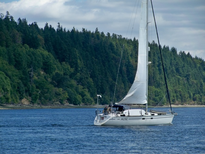 Our friends sailing their boat, SV Muse, through the Tacoma Narrows