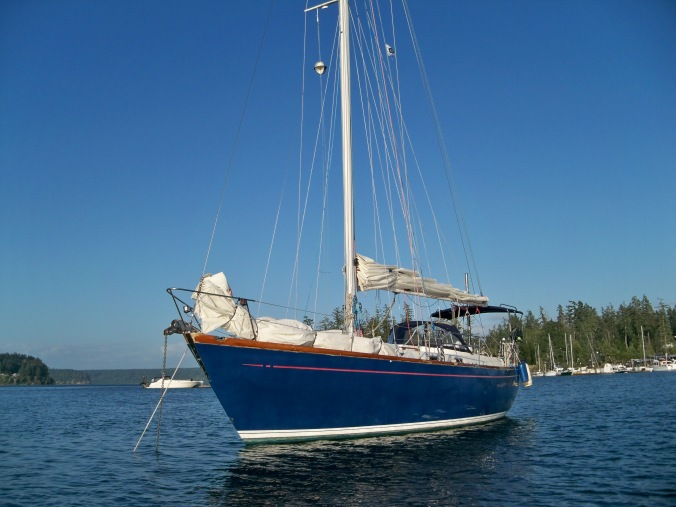 Mosaic rests at anchor for the first time ever with our family aboard