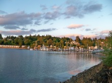 Sunset views along the waterfront trail in Olympia WA upon our arrival