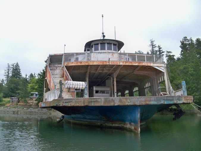 Seemingly abandoned ferry boat inside Oro Bay on Anderson Island