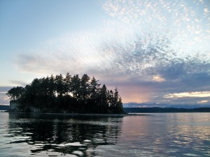 Sunset from the mooring ball at Cutt's Island - August 2019