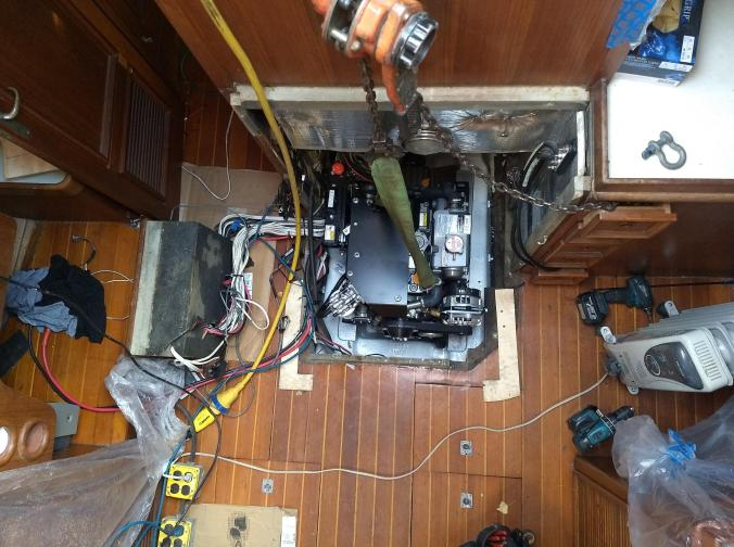 New engine going into our Fuji 40 sailboat at Port Townsend Shipwright's Co-Op